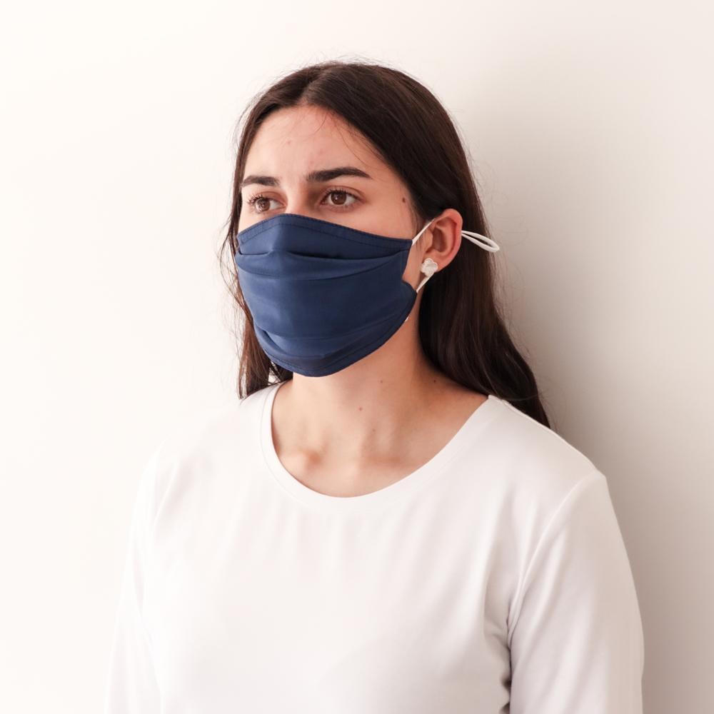 Pleated Fashion Face Mask - Indigo Silk